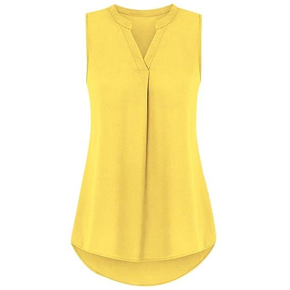 OHQ Camiseta Tops Chaleco Casual De Color SóLido para Mujer Blusa Sin Mangas con Cuello En V De Verano Tops Blusa Negro Amarillo Morado Verde Azul CóModo Y ...