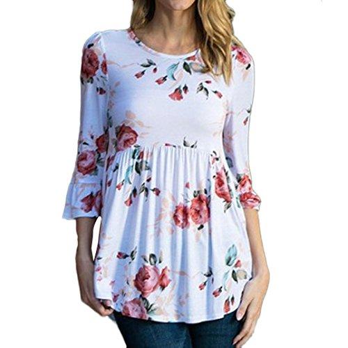 [Dirance Women Blouse 3/4 Sleeve Floral Ruffle Flare Summer Tank Crop T-Shirt Tops (XL)] (Floral Ruffle Top)