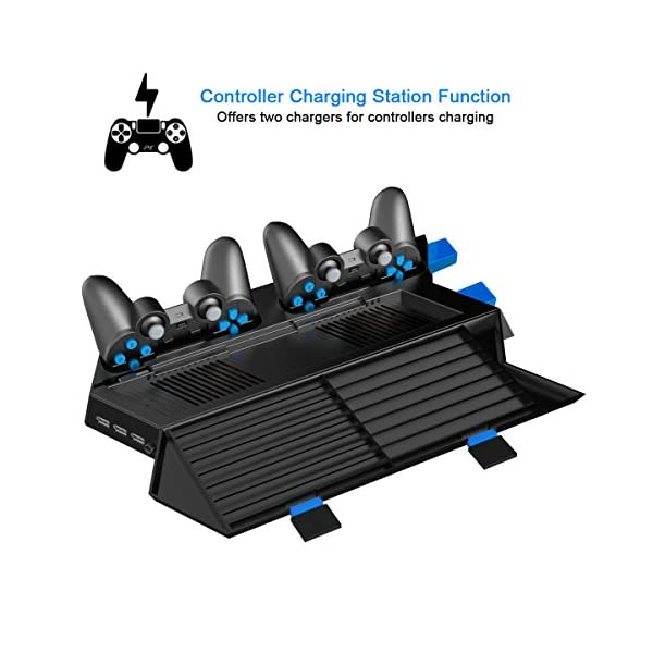 Kootek Vertical Stand for PS4 Slim / Regular PlayStation 4 Cooling Fan Controller Charging Station with Game Storage and… 3