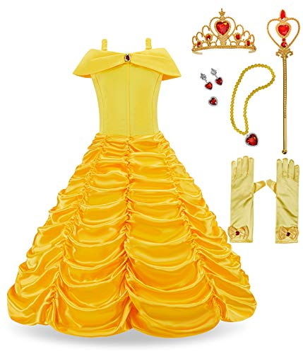 FUNNA Princess Belle Costume Dress for Girls Toddler Dress Up with Accessories, Yellow, 5]()
