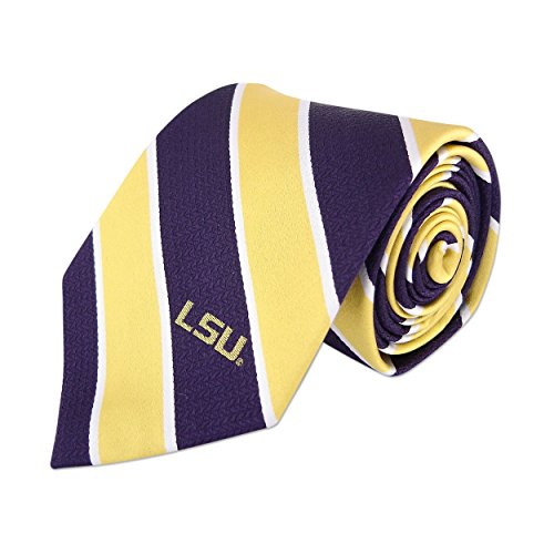 (NCAA LSU Tigers Mens Woven Silk Repp Stripe Collegiate Logo Tie 1, Yellow, One Size)