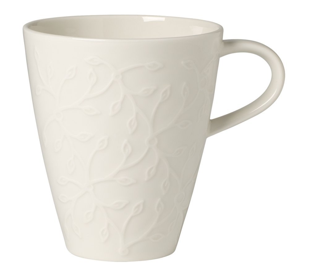 Villeroy & Boch Café Club Floral Touch Coffee Mug, 350 ml, Premium Porcelain, White