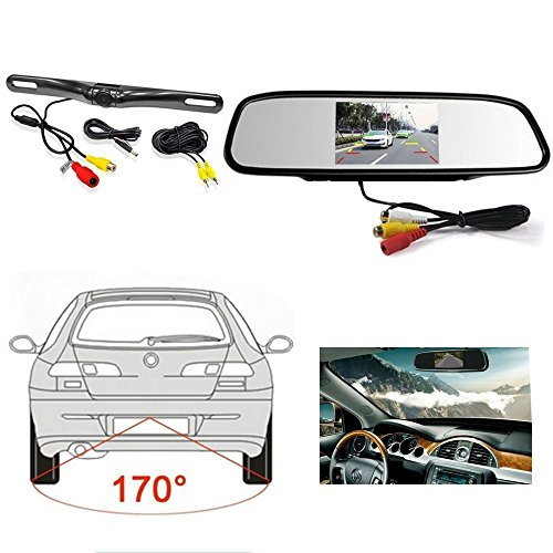 4.3 Inch Color TFT Rearview Mirror Monitor with IP67 Waterproof HD CCD 2 LED Vehicle Reverse Lock Reverse Backup Cameras Night Vision 170 ° Viewing Angle Rear View Camera Kit For Car