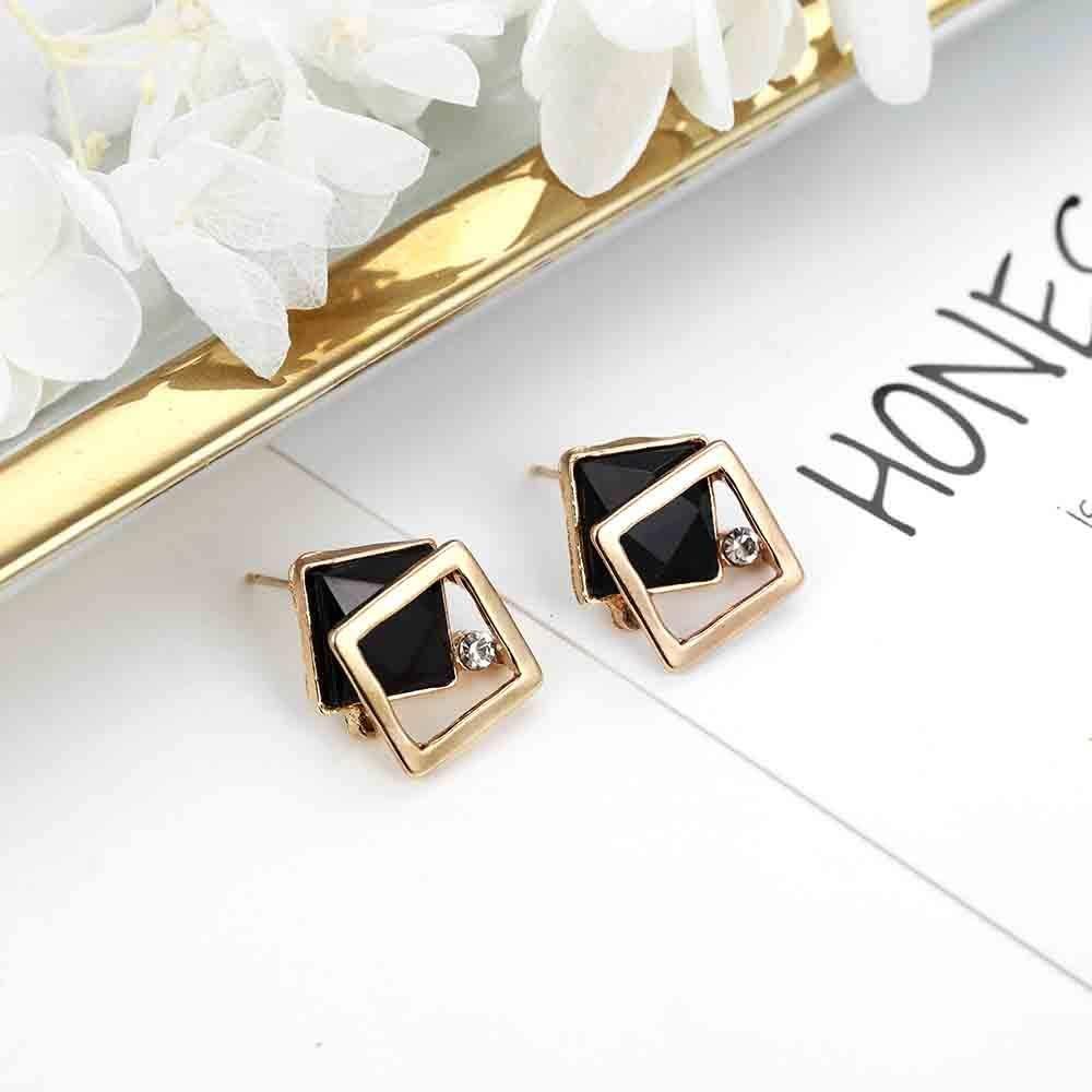 ANMEIKAI Minimalist Jewelry Square Geometric Earrings White Black Blue Crystal Rhinestone Stud Earrings Simple Style