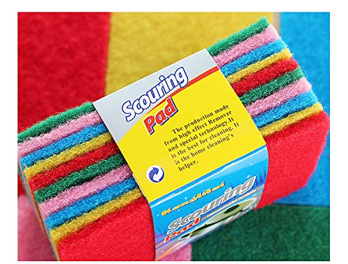 10 Pack Scrub Sponge Scouring Pads, Household Cleaning Utensil Scrubber,Pot Brush scrubbers Kitchen Cooking Utensil Cleaning Tools,Non-Scratch Anti-Grease Technology,Reusable,Colorful