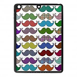 IPad Air Case,Love Colorful Mustache Mania Pattern High Definition Fantastic Design Cover With Hign Quality Rubber Plastic Protection Case