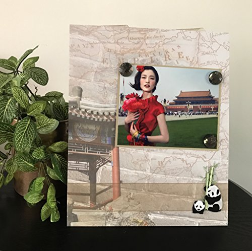 "Chinese Pagoda travel panda bamboo map china jeweled rhinestone asian culture gift handmade magnetic picture frame holds 5"" x 7"" photo 9"" x 11"" size"