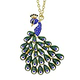 Feelontop® Hot Sale Rhinestone Colorful Fashion Design Alloy Peacock Necklace Pendants with Jewelry Pouch