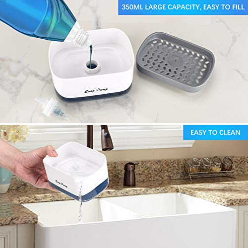 Kitchen Dish soap Dispenser with Sponge Holder, 2020 Newest 2-in-1 Countertop Soap Pump Dispenser, for Kitchen Sink dishwashing Soap Dispenser - 12.5 Ounces