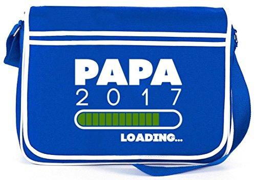 Geschenkidee Retro Messenger Bag Kuriertasche Umhängetasche mit Papa 2017 Loading. Motiv Royal Blau 4IOc62gvip
