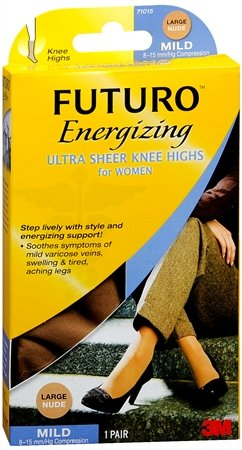FUTURO Energizing Ultra Sheer Knee Highs Mild Large Nude 1 Pair (pack of - 5k Nude