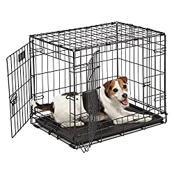 "Dog Crate | Midwest Icrate 24"" Double Door Folding Metal Dog Crate Wdivider Panel, Floor Protecting Feet & Leak-proof Dog Tray 