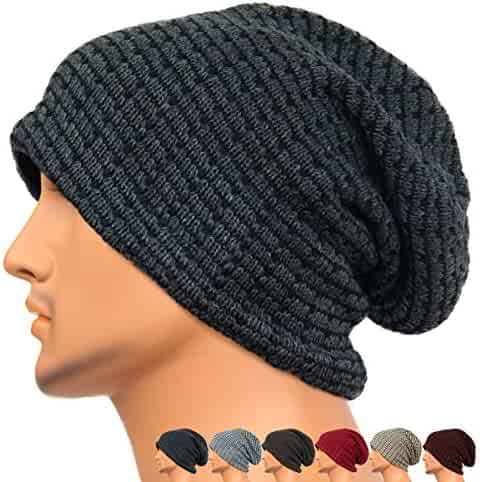 REDSHARKS Unisex Adult Winter Warm Slouch Beanie Long Baggy Skull Cap  Stretchy Knit Hat Oversized 2da154a37d41