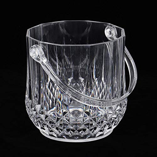 Household Acrylic Ice Container Diamond Pattern Ice Bucket with Handle for Bar KTV Supplies (5.9×4.7×4.9in)(Transparent)
