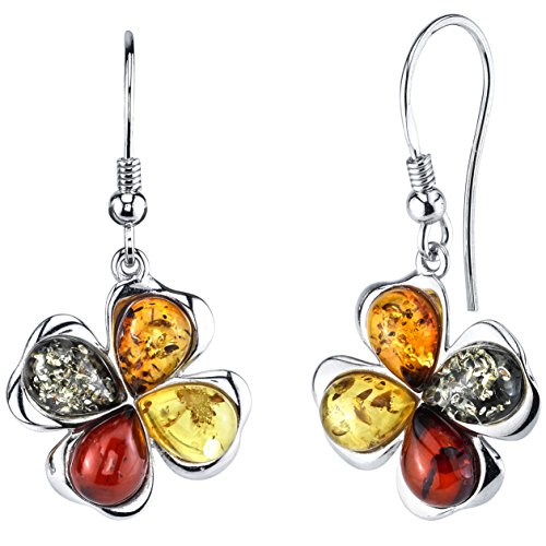 Sterling Silver Baltic Amber Multi Color Clover Leaf Drop Dangle Earrings Honey Cognac yellow and Olive Colors