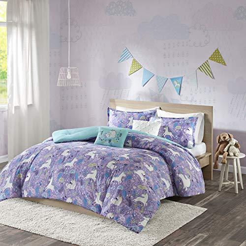 Urban Habitat Kids Lola Full/Queen Comforter Sets for Girls - Purple, Aqua, Unicorns - 5 Pieces Kids Girl Bedding Set - 100% Cotton Childrens Bedroom Bed Comforters
