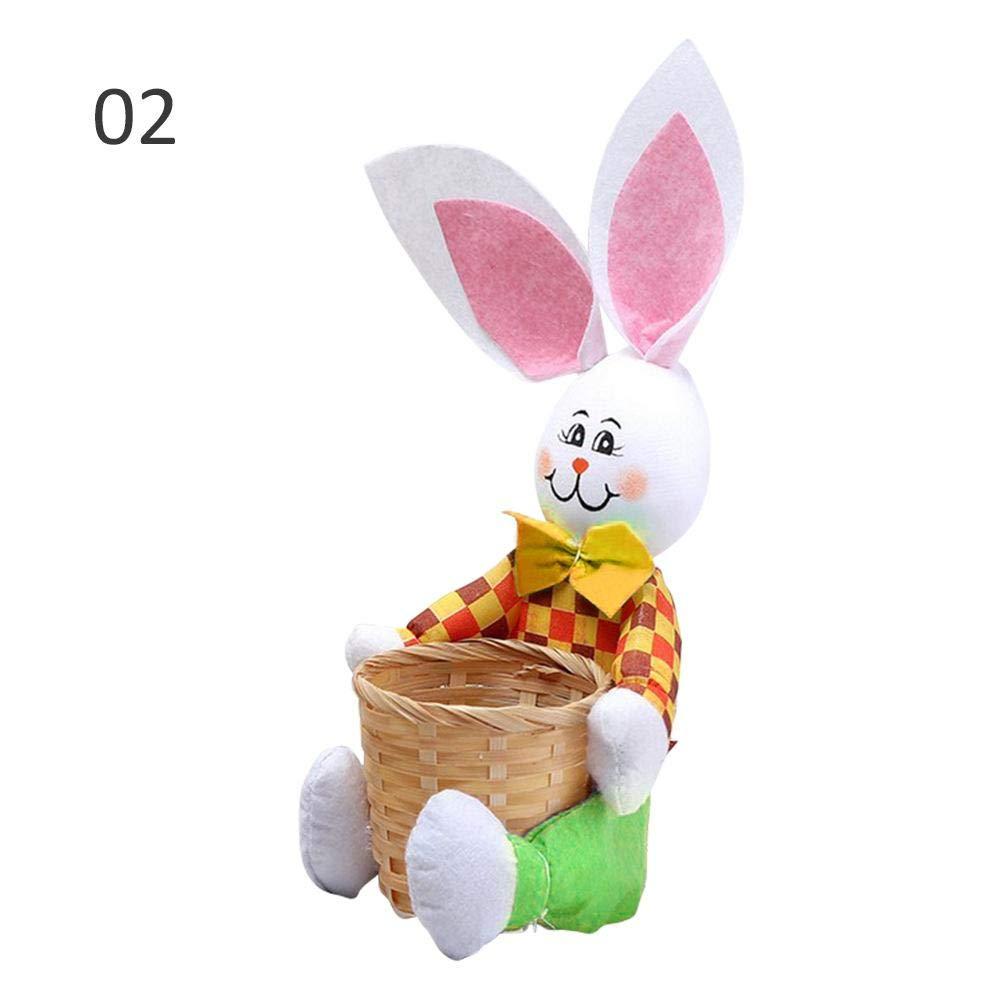 CatcherMy Easter Candy Egg Basket Creativo Simpatico Coniglietto con Cesto Coniglio di Pasqua Cestino Regalo di Pasqua Candy Egg Cestello di stoccaggio Bambini Bunny Bag