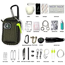 Lysport Emergency Paracord Survival Tool Kit Carabiner For Travel Camping Backpacking Hiking Outdoor Activities First Aid Rescue Gear Disaster Preparedness (29 in 1)
