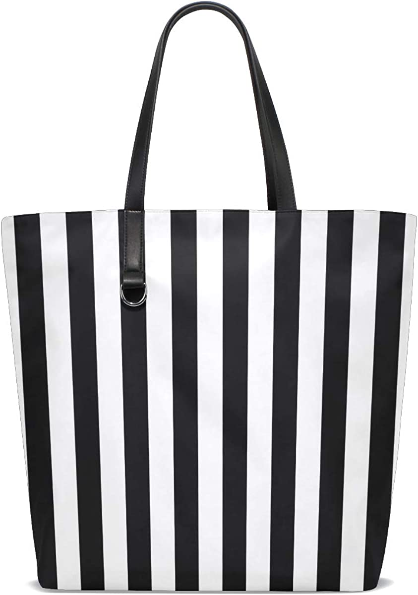 My Daily Women Tote Shoulder Bag Vintage Black And White Stripes Handbag Large