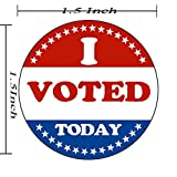 I Voted Today with Red, White, and Blue Circle Stickers 1.5 Inch Round 500 Labels Per Roll