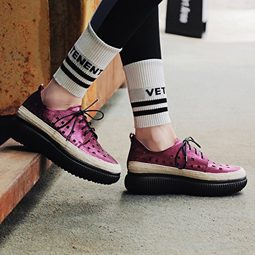 Breathable Sports Thick Shoes Platform Women's RoseRed up Lace MUYII Bottom Shoes Shoes Hollow Leather pvwHPxFqxU
