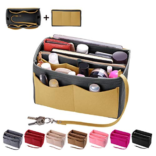 Purse Organizer Insert, Felt Bag organizer with zipper, Handbag & Tote Shaper, Fit LV Speedy, Neverfull, Longchamp, Tote (Large, Washed Light Grey and Yellow)