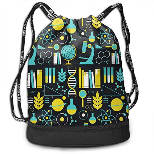 Girls & Boys Drawstring Bag Theft Proof Lightweight Beam Bag, School Tote Cinch Sack - Science Math Physical Chemical Biology Water Resistant Backpack Soccer Basketball Bag -