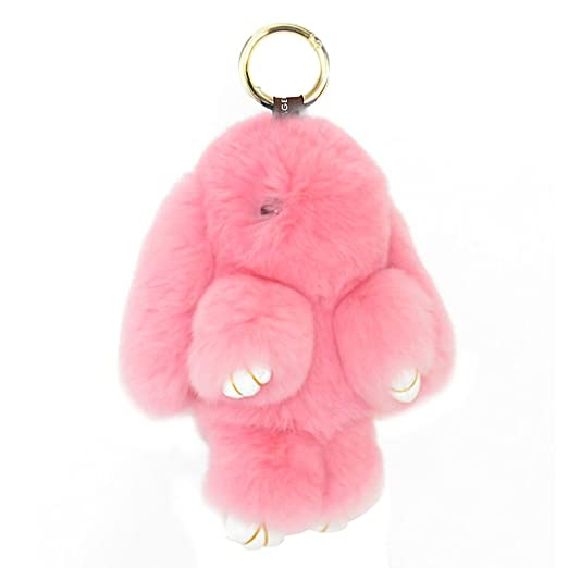Amazon.com  HXINFU Soft Cute Rabbit Fur Pom Pom Keychain Fluffy Real ... 85e26ae233a9