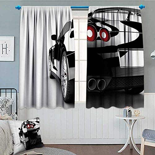 Strongger Cars Decor Collection Patterned Drape for Glass Door Rear View of A Modern Automobile with Wealthy Car Objects and Properties Fast Wheel Life Photo Waterproof Window Curtain 52