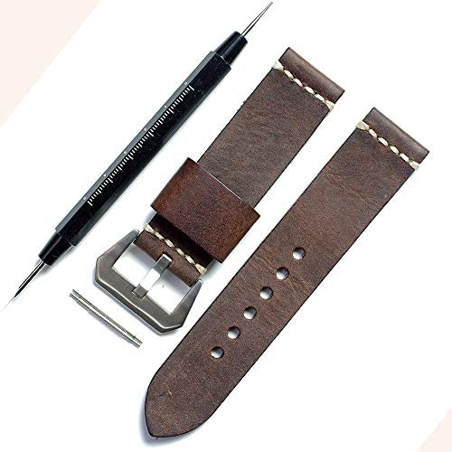 zmc36b2424 特注手作りベルト 牛革 チョコ色 長さ125x75mm 厚さ4-3mm 工具ばね棒外し付き k
