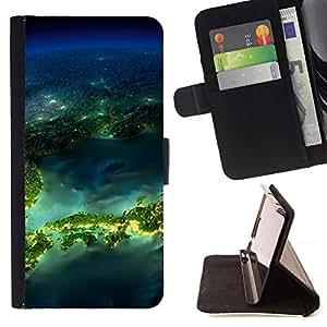 For HTC DESIRE 816 Case , Isla Planet Space Tierra- la tarjeta de Crédito Slots PU Funda de cuero Monedero caso cubierta de piel