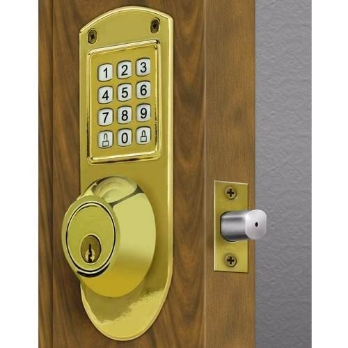 Electronic Keyless Deadbolt System Bright Brass 414