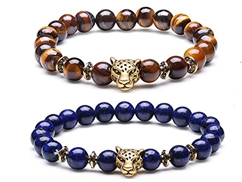 Beads Stretchy Bracelet with 3D Gold Plated Leopard Charm (Tiger's Eyes + Lapis Lazuli) (Gold Plated Tiger Charms)