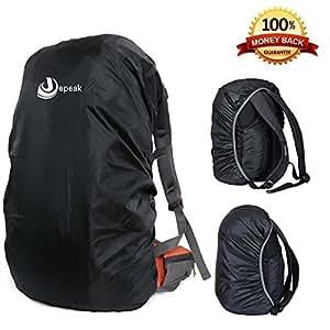 Waterproof Backpack Rain Cover 30L-40L Daypack Dustproof Rainproof Protector Cover (Elastic Adjustable) for Hiking/Camping/Traveling, Black