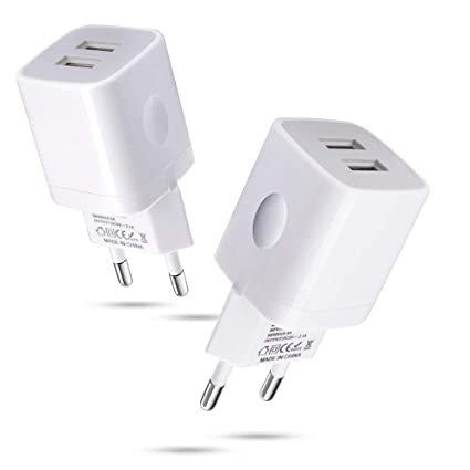 European Wall Charger,Dual Port Wall Charger Plug,2Pack 2.1A 5V European Plug Adapter for iPhone Xs/Xs Max/XR/X/8/7/6 Samsung Galaxy ...