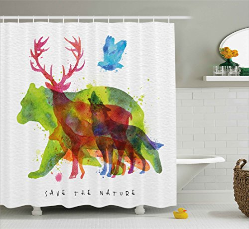 Ambesonne Animal Decor Shower Curtain, Alaska Animals Bears Wolfs Eagles Deers in Abstract Colored Shadow like Print, Fabric Bathroom Decor Set with Hooks, 75 Inches Long, Multicolor