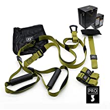 O RLY Suspension Trainer Bodyweight Fitness Resistance Straps Trainer Travel Working Out Indoors & Outdoors (P3 Pro 3 Military Green)