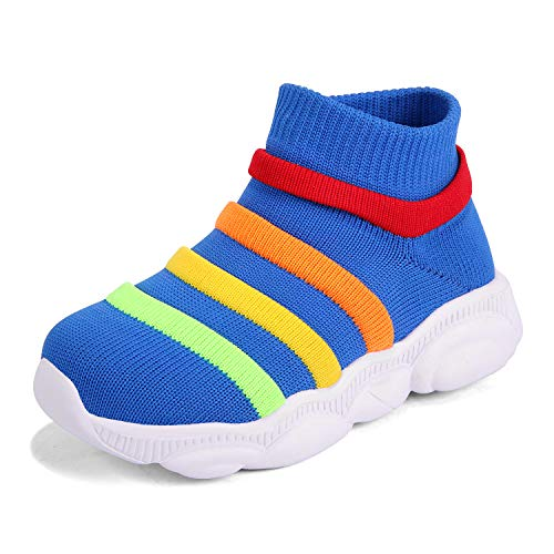 KRIMUS Toddler Baby Sneaker for Girls Boy Ankle high top Flyknit Sock Athletic Running Walking Casual First Walkers Shoes Blue