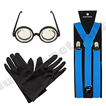 azul turquesa tirantes, Negro Guantes y Gafas de protección Gafas ...