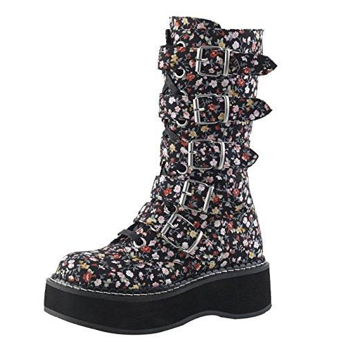 Demonia wadenlange Stiefel mit Plateau und 5 Schnallen, mit Floralem Muster, Vegan EMILY-340