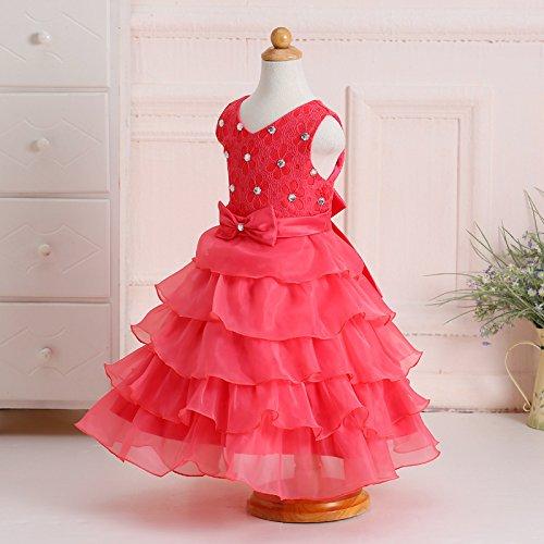 ZAMME Baby Boda Roja Cumpleaños Organza Ruffle vestido Floración Girl Sandía xRptqdrwx