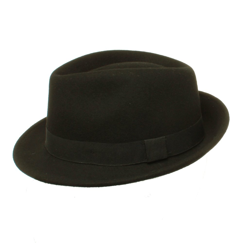 Black Fedora Hat with Black Ribbon available in a selection of sizes