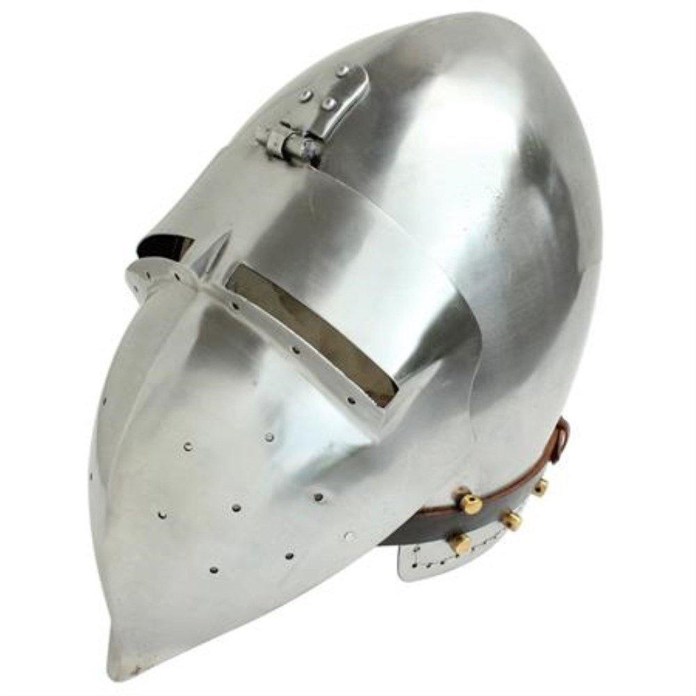 Battle Ready Fully Functional Medieval Bascinet Klappvisor Polished Steel Helmet Costume LARP