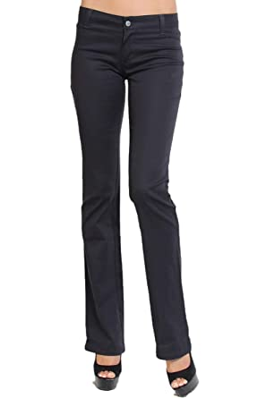 5edf45d860d2b5 TheMogan Junior's Dickies Girl Slim Fit Bootcut Leg Worker Pants Navy 1