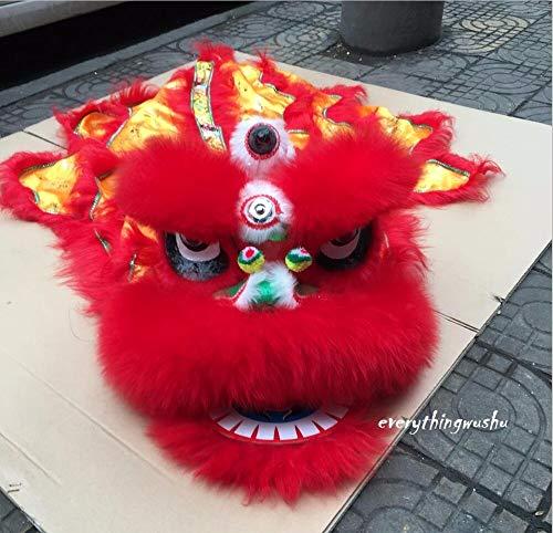 Everythingwushu Kids Sized Lion Dance Equipment Wushu Lion Dancing Costume (Red)