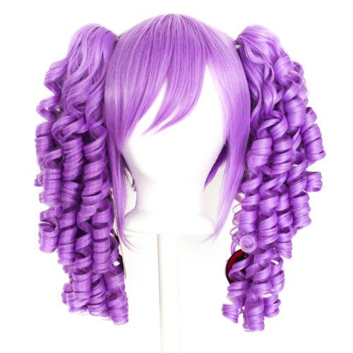 Momo - Lavender Purple Wig 18'' Ringlet Curly Pig Tails + 12'' Bob Cut Base Wig Set (Purple Pigtail Wig)