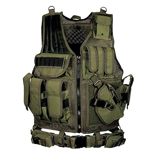 Lixada Tactical Vest Adjustable Molle Military Airsoft Paintball Vest Assault Swat Vest Breathable Combat Training Vest for Outdoor Hunting, Fishing, CS War Game
