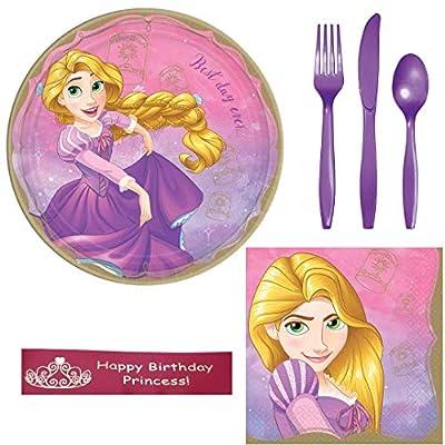 Disney Princess Rapunzel Birthday Party Supplies Bundle Including Plates, Napkins, Utensils, and Bonus Printed Ribbon: Toys & Games