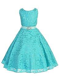 JM Dreamline Floral Lace A-Line Flower Girl Dress (Aqua, 8)