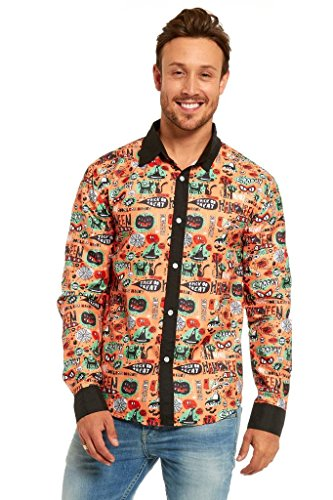 YOU LOOK UGLY TODAY Casual Long Sleeve Printed Button Down Shirt Party Costume Halloween Stylish Funny Dress-up Comic-XX Large (Halloween Costumes With Hawaiian Shirts)